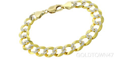 """Solid 14k Yellow Gold Curb 12mm Two-Tone Pave Thick Bracelet Chain 8.5"""""""