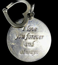 VINTAGE DIAMOND STERLING PENDANT CHARM 925 ENGRAVED LOVE MESSAGE GENUINE STONE