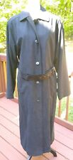 London Fog Trench Coat 14 Black Faux Suede Removable Zip Lining Buttons And Tie