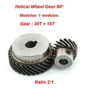 1M 30T/15T Metal Helical Wheel Gear 90° Pairing Bevel Gearing Set Kit Ratio 2:1