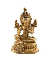 Soprammobile Tibetano Bianco Tara Vajrasattva 11 CM Rame Nepal AFR9-3267