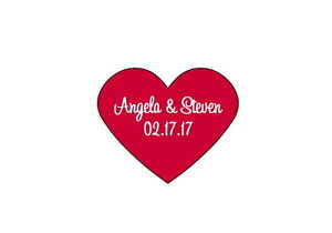 90 Personalized Custom Wedding Heart Hearts Shaped Stickers Labels Seals