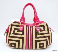 Nwt BODHI Geo Greek Key Fabric Patent Leather Satchel Bag Handbag Tote ~Tan/Pink
