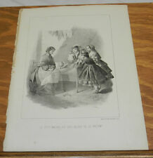 c1880 Antique Print/TALKING DOLLS TELL GIRL'S STORY/PLEASED WITH THE PRESENT
