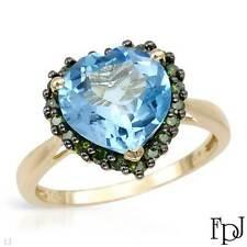 FPJ 14k Yellow Gold Heart Ring w/ Genuine Diamonds & Topazes - 3.99 ctw, Size 7