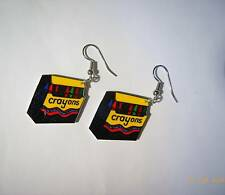 Crayons Earrings Red Green Yellow School Charms