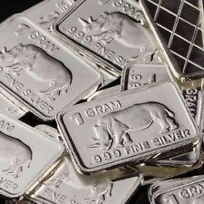 """Rhinoceros"" Design. Lot of 10, 1 gram silver bullion .999 Fine silver bar. NEW"