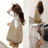 Women Straw Shoulder Bags Wicker Woven Ladies Handbag Bag. Handmade Rattan I6E8