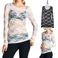 Women's Floral Lace Long Sleeve Scoop Neck Top with Lace Trim Casual S M L XL