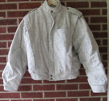 Vintage 80s Wool Bomber Jacket Jeans West Size 44 Large New Wave Flecked
