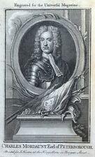 Charles Mordaunt, conde de Peterborough Original Antigua Retrato de impresión de 1761