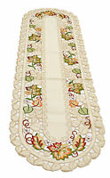 Fall Autumn Leaves Cutwork Table Runner 15x53 inches