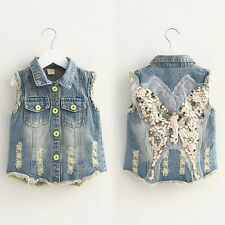 Baby Toddler Girls Denim Vest Butterfly Tops Kid's Fashion Outerwear Clothes New