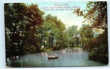 *1919 Jackson Park Lagoon Couple in Row Boat Chicago Illinois Postcard B42
