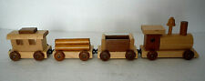 Handmade TOY WOODEN TRAIN, Engine & Three Cars, 13