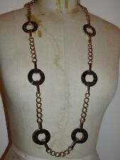 14 kt Gold Plated Black Enamel Dolce& Gabbana Chain Circle Link Flapper Necklace