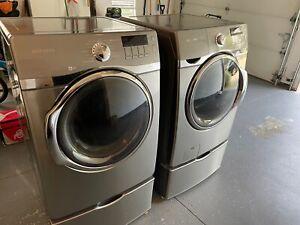 *LOCAL PICKUP ONLY* Samsung Steam Washer & Dryer w/Pedestals Stainless Platinum