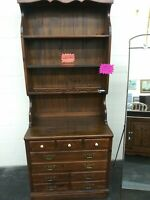 ETHAN ALLEN OLD TAVERN LINE HUTCH ANTIQUED PINE BASE WITH BOOKSHELF