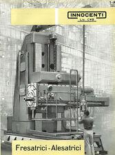 Depliant Brochure Innocenti Fresatrici Alesatrici CWB 1960 ORIGINALE