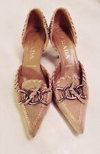Women's - PRADA - Tan Suede Leather Kitten Heel Buckle Dórsay Pumps Shoes 5.5 36