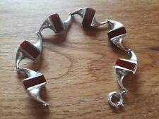 Original 70er Jahre Armband Damen - 925 Silber mit Karneol - Neu - VINTAGE