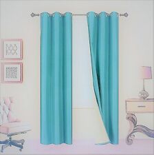 1 Set A72 Insulated Lined Foam Blackout Bronze Grommet Window Curtain Panels