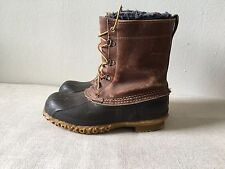 LL Bean Duck Boots 8 Lined Vintage Hunting Maine Rubber USA Classic Brown