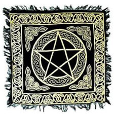 "NEW Pentagram Altar Cloth 18"" Gold and Black Metallic Fringed Rayon Pentacle"