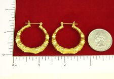 "MADE IN USA - Gold Plated Bamboo ~1-1/4"" Hoop Earrings  (#1122)"