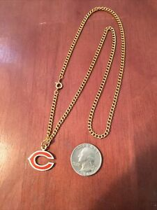 Chicago Bears Team Logo Pendant With Gold tone necklace.