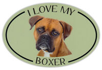 Oval Dog Breed Picture Car Magnet - I Love My Boxer - Bumper Sticker Decal
