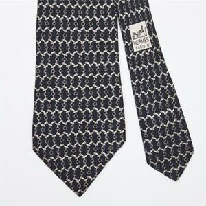 HERMES TIE 5099 HA Horse Bit on Black Classic Silk Necktie