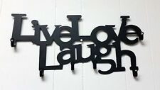 Live Love Laugh Wrought Iron Wall Door Decoration Plaque W/ Hooks