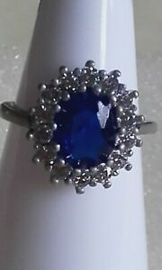 Pretty sparkly simulated blue sapphire & diamond band ring sz L 1/2
