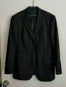 Ralph Lauren Black Striped 100% Wool Suit Jacket & Trousers Size 42R NWOT