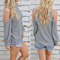 Women Cotton Stripe Long Sleeve Off Shoulder Slim Blouse Casual Tops T Shirt New