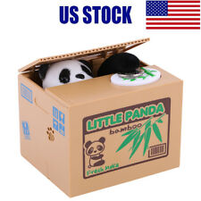 Cute Little Panda Stealing Coin Money Box Piggy Bank Storage Saving Box