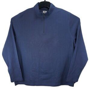 New Joseph Abboud Blue 2XLT Pima Cotton 1/4 Zipper Long Sleeve Pull-Over Shirt