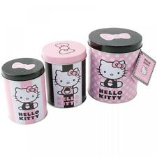 SANRIO HELLO KITTY 3PC FOOD STORAGE CANISTERS JAR SET SWEET BUSCUIT TIN