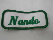 NANDO USED EMBROIDERED  SEW ON NAME PATCH TAG GREEN ON WHITE