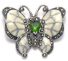Sterling Silver Marcasite Butterfly Pin Brooch w/Cream Enamel & Faceted Peridot