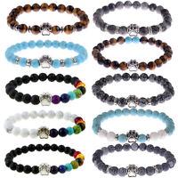 Fashion Men's Bracelets Cute Cat Paw Rock Lava Howlite Beads Women Bracelets