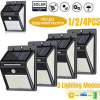 1-4X Outdoor 140 LED Solar Wall Lights Power PIR Motion Sensor Garden Yard Lamps