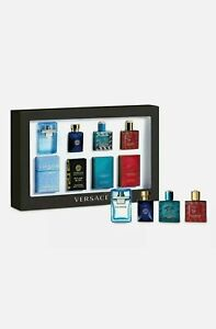VERSACE Mens MINI Fragrance GIFT set 4 X 5ML MINIATURE Discovery BOX New SEALED
