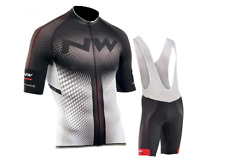 NW Cycling Jersey Short Sleeve with Bib Shorts White / Black / Red Size Medium