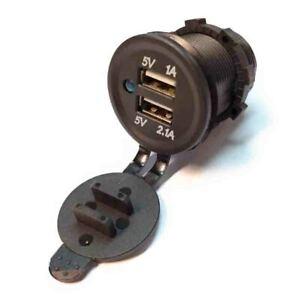 Cargador de coche doble puerto USB MECHERO 5v 3,1A Empotrable Adaptador Voltaje