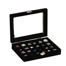 Organizer Case Box Holder Storage Glass Jewelry Earring Velvet Display Ring CE