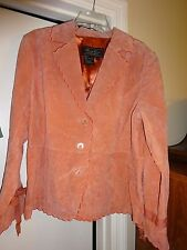 Terry Lewis Classic Luxuries Womens 100% Leather Lined Coat Jacket Light Orange
