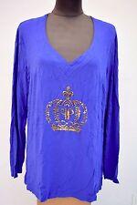Pompöös Harald Glöckler Damen Shirt Design blau 1/1 Arm Übergröße Gr. 46