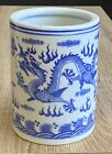 Chinese Blue and White Porcelain Brush Pot Signed 5 Claw Dragon